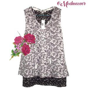 Simply Noelle Layered Flowy Floral  Tunic NEW